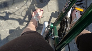 Proudly cycling through Potsdam in my Karachi sandals :D