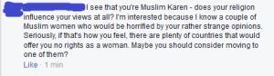 woman accuses me of being Muslim